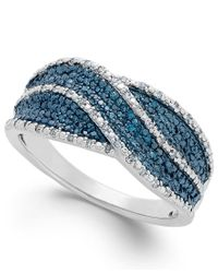 Macy's | Blue And White Diamond Ring In Sterling Silver (1/4 Ct. T.w.) | Lyst