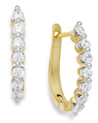 Macy's | Metallic Diamond J-hoop Earrings In 14k Gold (1/2 Ct. T.w.) | Lyst