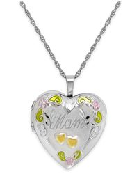 Macy's | Metallic Mom Painted Heart Locket In Sterling Silver | Lyst
