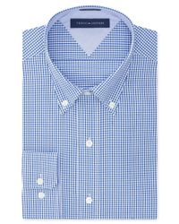 Tommy Hilfiger - Blue Easy Care Slim-fit Navy Gingham Dress Shirt for Men - Lyst
