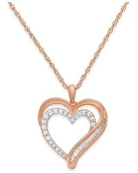 Macy's | Metallic Diamond Heart Pendant Necklace In 10k Rose Gold (1/4 Ct. T.w.) | Lyst