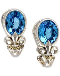 Effy Collection | Metallic Balissima By Effy Blue Topaz Fleur De Lis Earrings In 18k Gold And Sterling Silver (5-3/8 Ct. T.w.) | Lyst