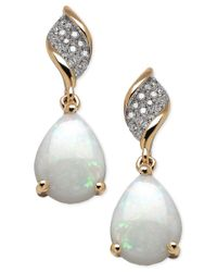 Macy's | Metallic Opal (1-5/8 Ct. T.w.) And Diamond (9/10 Ct. T.w.) Earrings In 10k Gold | Lyst