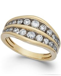Macy's - Metallic Diamond Two-row Ring In 14k Gold (1 Ct. T.w.) - Lyst
