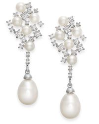 Arabella | Metallic Cultured Freshwater Pearl And Swarovski Zirconia Drop Earrings In Sterling Silver (4 & 8mm) | Lyst