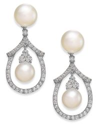 Arabella | Metallic Cultured Freshwater Pearl And Swarovski Zirconia Drop Earrings In Sterling Silver (5 & 6mm) | Lyst