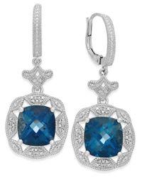 Macy's - London Blue Topaz (7 Ct. T.w.) And Diamond (1/7 Ct. T.w.) Earrings In Sterling Silver - Lyst