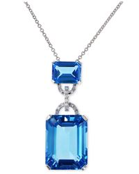Effy Collection | Effy Blue Topaz (16-3/4 Ct. T.w.) And Diamond Accent Pendant Necklace In 14k White Gold | Lyst