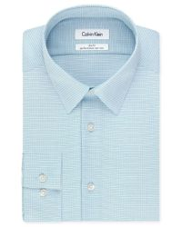 Calvin Klein - Steel Non-iron Slim-fit Blue Multi Check Performance Dress Shirt for Men - Lyst