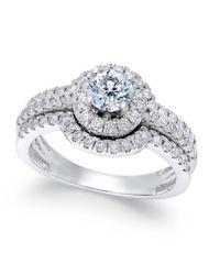 Macy's - Metallic Diamond Halo Engagement Ring (1-1/4 Ct. T.w.) In 14k White Gold - Lyst