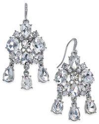 Charter Club - Metallic Silver-tone Cubic Zirconia Drop Earrings - Lyst