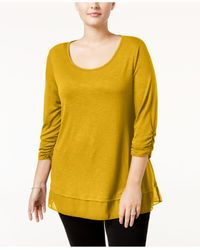 Style & Co. | Yellow Chiffon-hem Top, Only At Macy's | Lyst