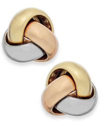 Macy's | Metallic Tri-tone Love Knot Stud Earrings In 14k Gold | Lyst