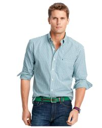 Izod | Green Big And Tall Long-sleeve Checked Shirt for Men | Lyst