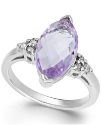 Macy's | Pink Amethyst (3 Ct. T.w.) And Diamond (1/8 Ct. T.w.) Ring In 14k White Gold | Lyst