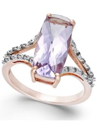 Macy's | Pink Amethyst (3-3/4 Ct. T.w.) And Diamond (1/6 Ct. T.w.) Ring In 14k Rose Gold | Lyst