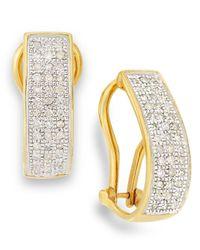 Macy's - Metallic Diamond Omega Hoop Earrings In 10k Gold (1/4 Ct. T.w.) - Lyst
