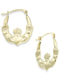 Macy's | Metallic Claddagh Hoop Earrings In 10k Gold | Lyst