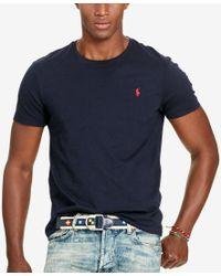 Polo Ralph Lauren   Blue Custom-fit Cotton Jersey Crewneck for Men   Lyst
