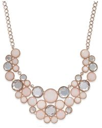 INC International Concepts | Pink Rose Gold-tone Round Stone Frontal Bib Necklace | Lyst