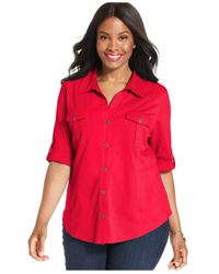 Style & Co. | Red Plus Size Utility Shirt, Only At Macy's | Lyst