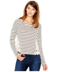 Maison Jules - Natural Long-sleeve Lace-inset Printed Top - Lyst