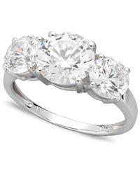 Arabella - Metallic 14k White Gold Ring, Swarovski Zirconia Three Stone Ring (6-1/5 Ct. T.w.) - Lyst