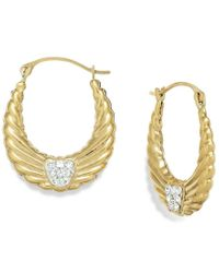 Macy's - Metallic Crystal Wing Hoop Earrings In 10k Gold, 19mm - Lyst