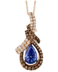Le Vian - Blueberry Tanzanite (1-1/5 Ct. T.w.) And Diamond (9/10 Ct. T.w.) Pendant Necklace In 14k Rose Gold - Lyst