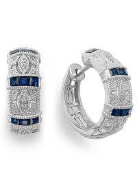 Macy's - Blue Sapphire (3/4 Ct. T.w.) And Diamond Accent Hoop Earrings In Sterling Silver - Lyst