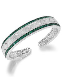 Macy's | Metallic Emerald (1-1/3 Ct. T.w.) And Diamond Accent Cuff Bracelet In Sterling Silver | Lyst