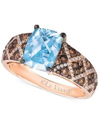 Le Vian - Blue Aquamarine (1-1/2 Ct. T.w.) And Diamond (5/8 Ct. T.w.) Ring In 14k Rose Gold - Lyst