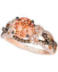 Le Vian   Multicolor Peach Morganite (1-3/8 Ct. T.w.) And Diamond (5/8 Ct. T.w.) Ring In 14k Rose Gold   Lyst
