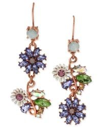 Betsey Johnson | Multicolor Rose Gold-tone Faceted Bead Flower Mismatch Drop Earrings | Lyst