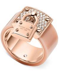 Michael Kors | Pink Rose Gold-tone Padlock Ring | Lyst