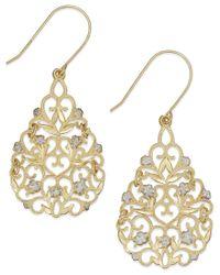 Macy's - Metallic Filigree Flower Drop Earrings In 10k Gold And Sterling Silver - Lyst