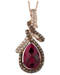 Le Vian | Multicolor Raspberry Rhodolite Garnet (3-5/8 Ct. T.w.) And Diamond (5/8 Ct. T.w.) Pendant Necklace In 14k Rose Gold | Lyst