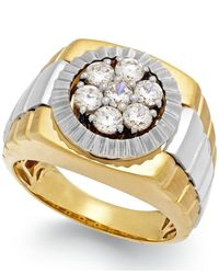 Macy's | Metallic Men's Diamond Two-tone Ring In 10k Gold (1 Ct. T.w.) for Men | Lyst