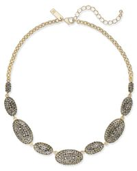 INC International Concepts - Metallic Gold-tone Pavé Oval Statement Necklace - Lyst