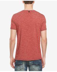Buffalo David Bitton - Red Split-neck T-shirt for Men - Lyst