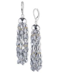 Nine West - Multicolor Tri-tone Beaded Drop Earrings - Lyst