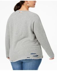 Lucky Brand Gray Trendy Plus Size Ripped Sweatshirt