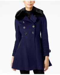 Via Spiga - Blue Faux-fur-collar Skirted Peacoat - Lyst
