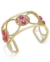 INC International Concepts - Gold-tone Pink Stone Openwork Cuff Bracelet - Lyst
