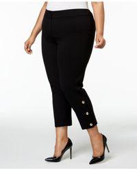 Nine West - Black Plus Size Button-hem Ankle Pants - Lyst