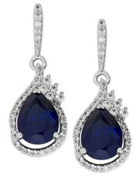 Macy's - Metallic Lab-created Blue Sapphire (4-5/8 Ct. T.w.) And White Sapphire (1/2 Ct. T.w.) Drop Earrings In Sterling Silver - Lyst