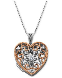 "Giani Bernini - Metallic Cubic Zirconia Openwork Filigree Heart Locket 18"" Pendant Necklace, Created For Macy's - Lyst"