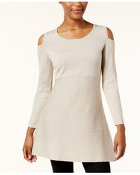 Style & Co. - Multicolor Petite Cold-shoulder Tunic Sweater - Lyst