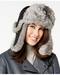 Surell - Black Rabbit Fur Trim Visor Quilted Trooper Hat - Lyst