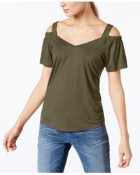INC International Concepts - Green Petite Cold-shoulder Jersey Top, Created For Macy's - Lyst